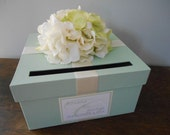 Custom Wedding Card Box Mint Green Wedding, Reception Card Box, Gift Card Box, Handmade Wedding Cardbox, Garden Wedding, Hydrangeas
