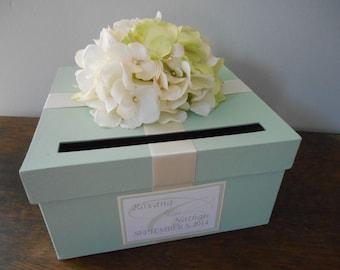Custom Wedding Card Box Mint Green Wedding, Reception Card Box, Gift Card Box, Handmade Wedding Cardbox, Garden Wedding, Hydrangeas