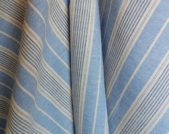 Chambray Cotton Blue and Cream Stripe Fabric for Suiting, Shirting and Upholstery ET726