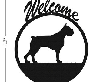 Dog Boxer Black Metal Welcome Sign