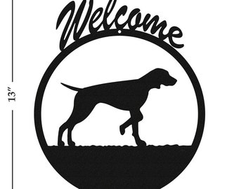 Dog Vizsla Black Metal Welcome Sign
