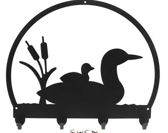 Loon Duck Black Metal Key Chain Holder Hanger