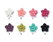 Set of 4 Mini Sakura Resin Flower Cabochons 14mm Top Quality in TRUE COLOR and True Semi- MATTE finish 8 Color Options Pink Blue Black Green