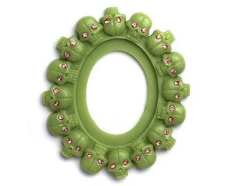 1 Piece Multi Skull Frame White or Green with Crystals for 30mm x 40mm Cameo ORIGINAL DESIGN
