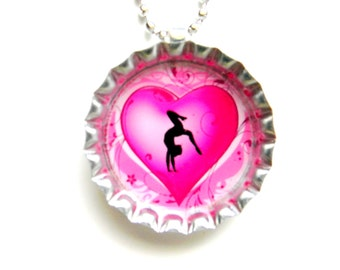Bottle Cap Necklace - Gymnastics Heart