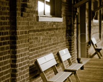 Train station Photography travel rustic depot empty benches waiting traveler sepia - A thousand miles away from home... - fine art photo