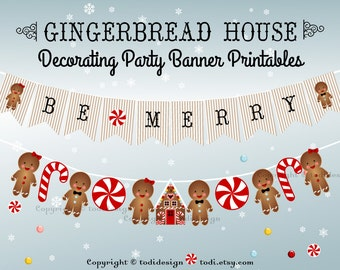 Gingerbread House Decorating Party Banner Printables - INSTANT DOWNLOAD