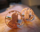 2006 Anniversary Cutout Penny Cuff Links with Gold Plated Backings
