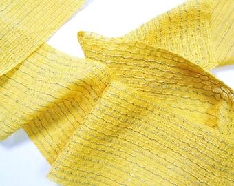 bright yellow honeycomb scarf