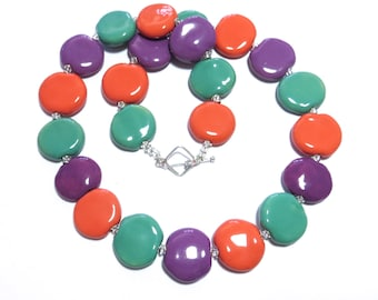 Kazuri Bead Necklace, Fair Trade Beads, Ceramic Necklace