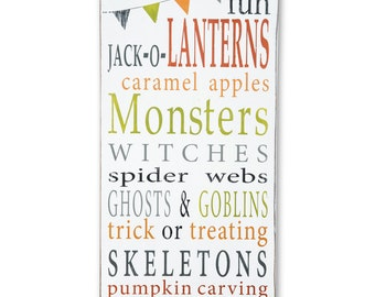 Halloween Fun with Bunting Typography Word Art Hand Painted Sign - Limited Edition