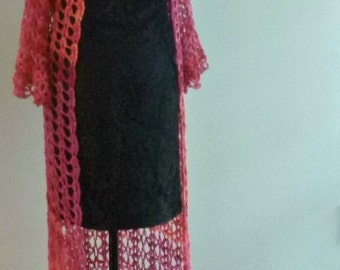 Pink Ombre Victorian Style Duster  Ankle Length