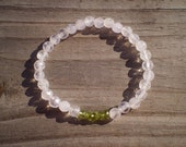 Green Peridot and Faceted Quartz Stretch Bracelet