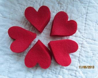 Red Felt Hearts - Small Size- 50 Die Cut Felt Hearts-DIY Valentine Crafts-Heart Shapes-DIY Felt Heart Kit
