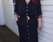 Blue Sailor Retro Nautical Dress Vintage 80s Dark Navy Gold 16
