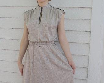 Polka Dot Dress Retro Neutral Sleeveless Vintage 70s 1970s Casual S M