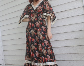 Candi Jones Hippie Dress Angel Maxi Black Floral Print Vintage 70s XS