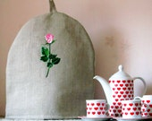 Linen Coffee Pot Cozy, Embroidered, Pure Linen Coffee Pot Warmer, Handmade, Large Size