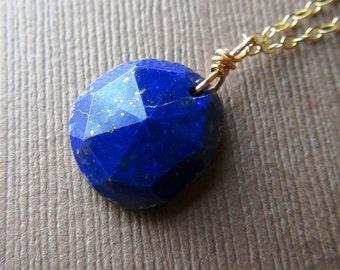 Rose Cut Lapis Lazuli Necklace