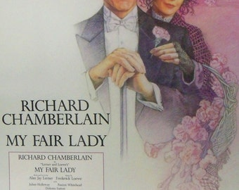 Vintage Poster Pink Purple My Fair Lady Musical Theatre Poster Stage Play Advertising Richard Chamberlain