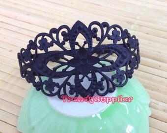 6 pcs, Black Diamond Filigree Cuff Bracelet