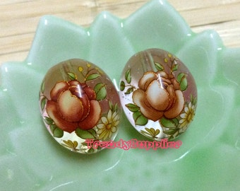 2pcs, Japanese 16x20mm Red Rose Pattern Clear Egg-Shaped Tensha Bead