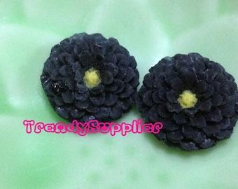 6 pcs Little Round Chrysanthemum Cabochon, Black (S007/Y)