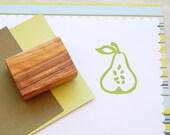 Pear Outline Olive Wood Stamp