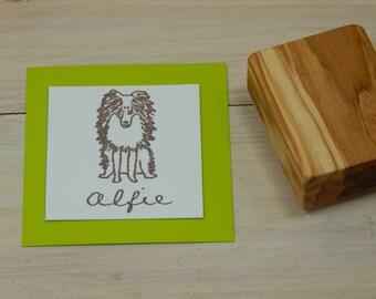 Charity Stamp Custom Miniature Sheltie Olive Wood Stamp