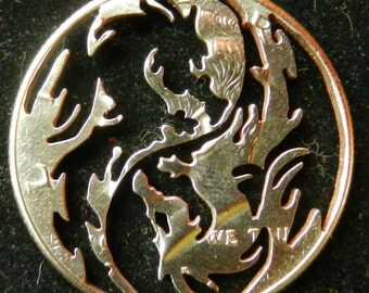 Dragon Yin Yang Hand Cut Half Dollar Jewelry