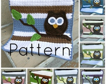 PDF Owl Baby Blanket Lovey Size Crochet Pattern Plus Bonus Baby Blanket Size Included