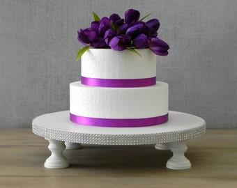 "12"" Wedding Cake Stand Cupcake Stand White Bling Rhinestone Wooden Wedding Decor E. Isabella Designs. As Featured In Martha Stewart Weddings"