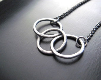Sterling Silver Three circle Infinity Necklace