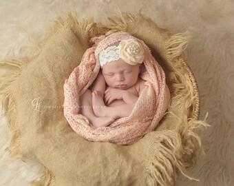 Burlap Blanket Newborn Photo Prop Mini Baby Blanket Photography  Prop Basket Filler pick your color
