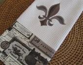 Napoleonic Fleur de Lis (Cream) - Paris Nights D'Orsay - Microfiber Waffle Weave Kitchen Hand Towel