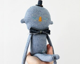 SALE - Textile Soft Sculpture Denim Character OOAK Art Doll No.3