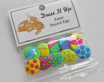 Dress it up - 10 easter egg buttons with shanks polka dot and stripe designs - original packaging