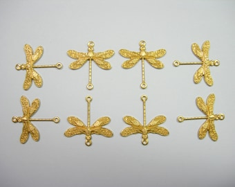 Raw Brass Dragonfly Victorian Earring Drops Findings Stampings -8