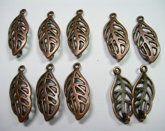 Antique Copper Plated Leaf Leaves Drops- 23mm - 10