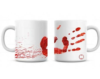Dexter Inspired Bloody Handprint and Blood Splatter Coffee Mug