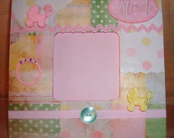 Newborn Baby Girl Decoupaged Picture Frame