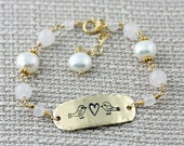 Love Birds Bracelet, Gold Hand Stamped Bracelet with Rose Quarts and Fresh Water Pearls