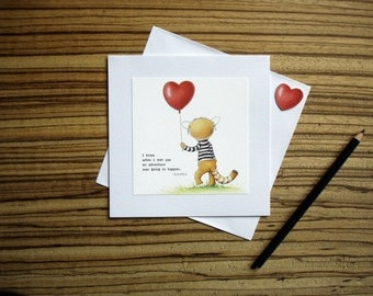Walter the Red Panda and his Heart Balloon with A.A. Milne Quotes and Thank You Cards by SBMathieu