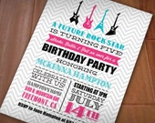 ROCK GUITAR Girl Birthday Printable Invitation in Pink and Turquoise Aqua Blue