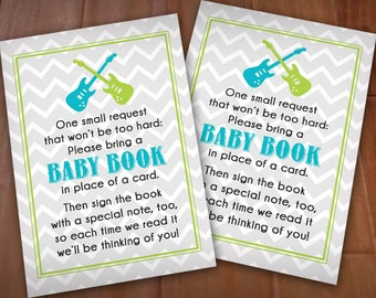 BRING A BOOK Baby Shower Guitar Insert Card in Turquoise Aqua Blue and Lime Green- Instant Printable Download