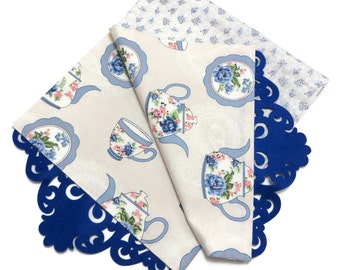 Teapot, Plate, Teacup Patterned Cotton Duck Fabric Table Runner With Navy Felt Border and Floral Fabric Linned