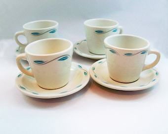 Set of 4 Homer Laughlin China Coffee Cups & Saucers