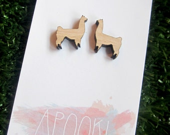 Llama/Alpaca Earrings - Laser cut from Tasmanian Oak