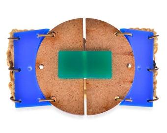 Blue wide Cuff Clock Bracelet, Plastic & Wood Geometric Statement Bracelet Unique jewelry for her on sale 20% off