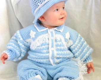 Baby cowboy layette 6 month crochet photography prop blue western hat jacket pants boots blanket afghan sweater fringe stars booties